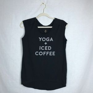 Gaiam yoga and iced coffee muscle tank top